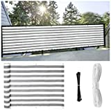 Privacy Screen for Backyard Fence, Decorative Privacy Cover Netting, Outdoor Paneling and Outdoor Screening for Balcony Windscreen Sun Shade UV-Proof, 3x16.4 FT (Gray)