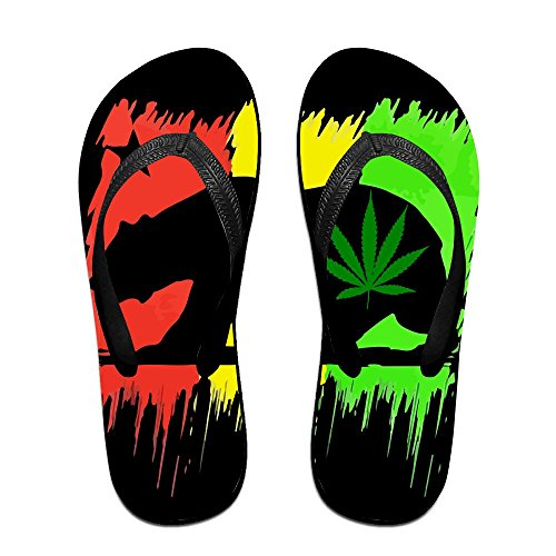 F-HAL Unisex Flip Flops California Flag Marihuana Travel Thong Sandal Beach Slipper Black 6oYPlaw