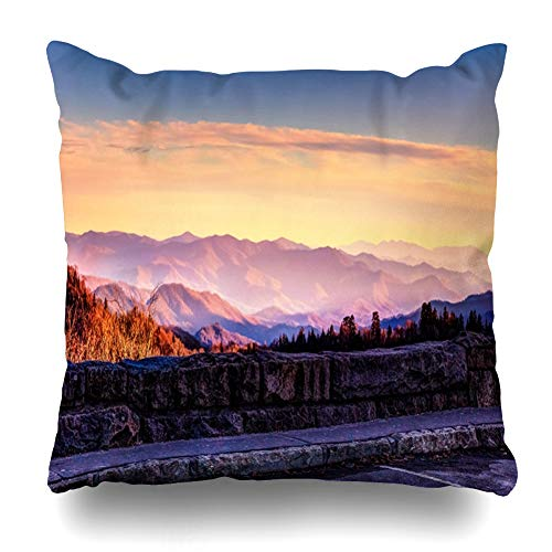 - Ahawoso Throw Pillow Cover Square 18x18 Scenery Newfound Smoky Mountain Twilight Horizon Great Nature Park Gap Parks Road Adventure America Zippered Cushion Case Home Decor Pillowcase
