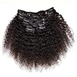 ZigZag Hair Afro Kinky Curly 3B 3C Clip in Hair Extensions for Black Women Peruvian Virgin Human Hair Clip Ins Natural Color (18inch, 3B 3C)