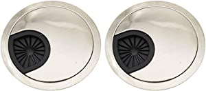 Sipery Computer Desk Grommet Hole Cover, 2 Pack Brushed Silver Desk Table Grommet Cable Cord Hole Cover Fit 2-3/8 inch Hole