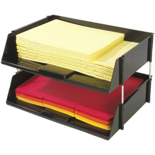 Deflecto 582704 Industrial Tray Side-load Stacking Tray With Risers, 2 Pk