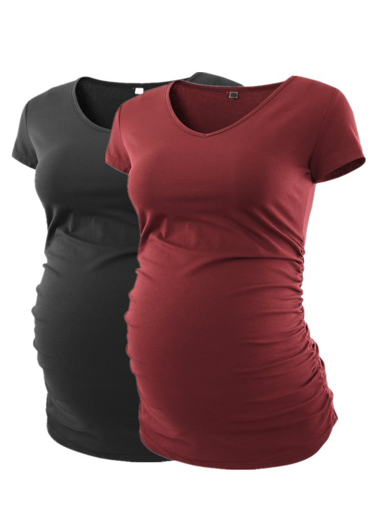 Pinkydot Women's V Neck T Shirt Classic Side Ruched Pregnancy Maternity T-Shirt Tops,Black Wine Red,Large