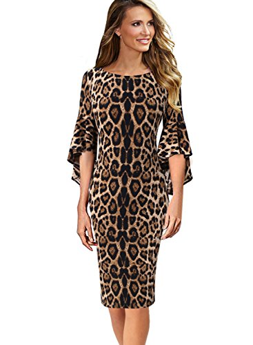 VFSHOW Womens Ruffle Bell Sleeves Business Cocktail Party Sheath Dress 1395 Leo XL Brown Leopard