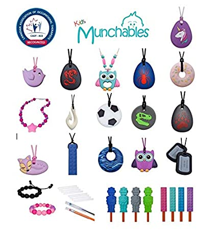 Munchables Chewelry Chew Blockz Sensory Necklace Pink