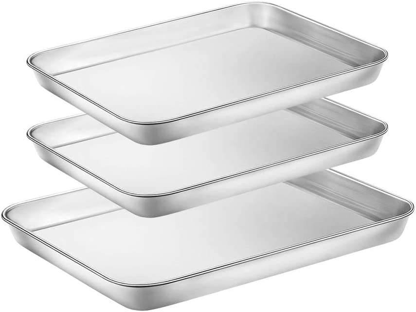 WEZVIX Baking Sheets Set of 3 Stainless Steel Tray Cookie Sheet Toaster Oven Pan 9 & 10 inches, Thick & Sturdy, Easy Clean & Dishwasher Safe, Non Toxic & healthy, Rust Free & Less Stick
