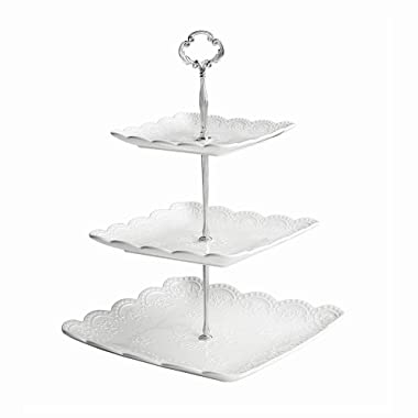 WINCANG 3-Tier Porcelain Square Lace Stacked Party Cupcake and Dessert Tower - White Cake Stand (3 Tier, White)