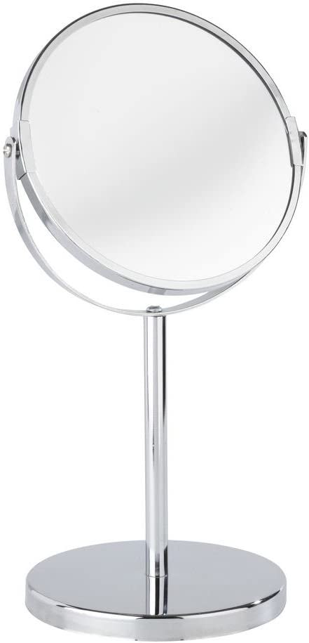 WENKO 16892100 Standing cosmetic mirror Assisi - foldable, mirror surface diam. 6.3 inch, 3 x magnification, Steel, 7.3 x 13.6 x 5.9 inch, Chrome