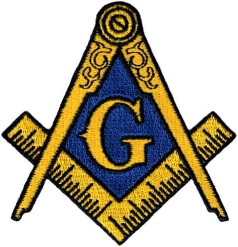 Masonic Logo Patch Embroidered Iron-On Freemason Lodge Emblem Mason G Square Compass