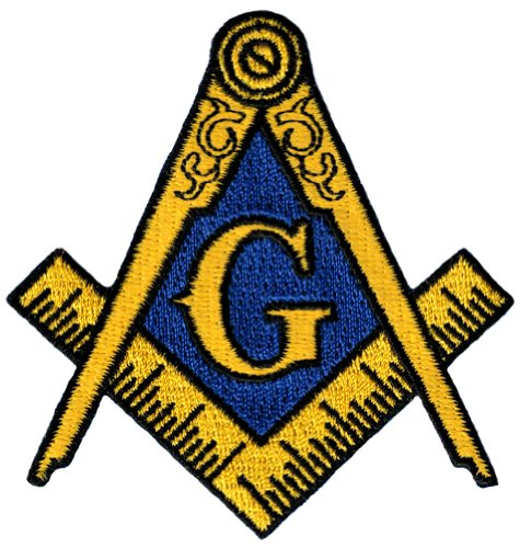 Masonic Logo Patch Embroidered Iron-On Freemason Lodge Emblem Mason G Square Compass