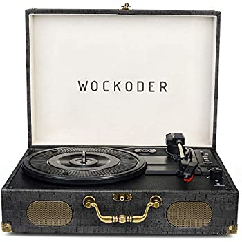 Turntable Record Player Portable Wireless 3 Stereo Speed Vinyl Record Player with Built-in Speakers Classic Black Vintage Style