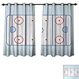 Anzhouqux Hockey Bedroom Thermal Blackout Curtains Ice Hockey Field in Blue Tones and Red Graphic Outline for Sport Events Window Curtain Drape Blue Red Pale Blue W55 x L45 inch