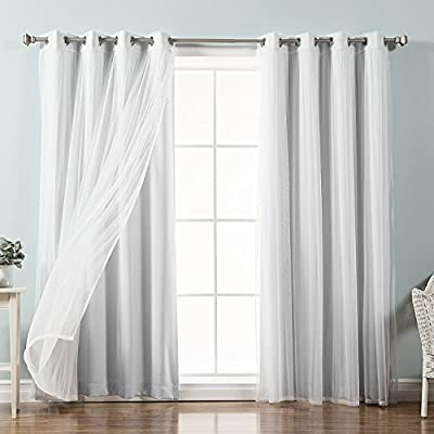 DLIUZ Room Darkening Thermal Insulating Blackout Curtain Set with Tie Backs - 52 x 63 Inches, White