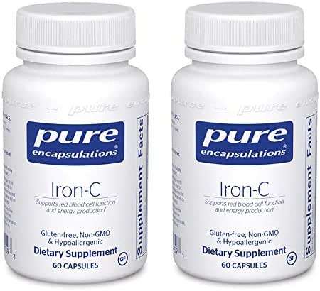 Pure Encapsulations Iron-C Gluten Free, Non GMO and Hypoallergenic Dietary Supplement with 15 Milligrams Iron and 175 Milligrams Vitamin C - 60 Capsules (Pack of 2)