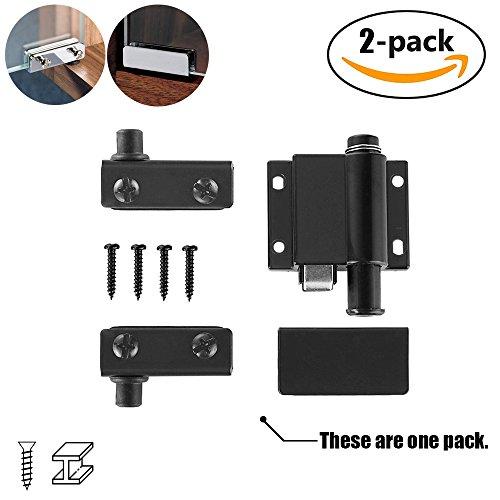 Part Glass Hinge (JQK Black Pivot Hinge, Glass Door Hinges with Catch for Free Swinging Glass Doors 5-8mm (No Drilling) 2 Pack)