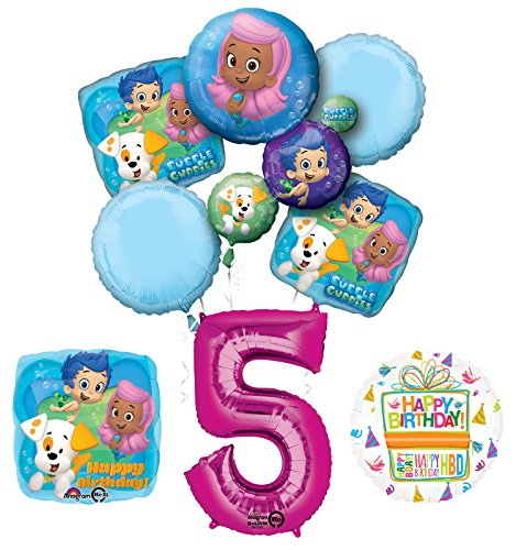 Bubble Guppies 5th Birthday Party Supplies and Balloon Bouquet Decorations ()