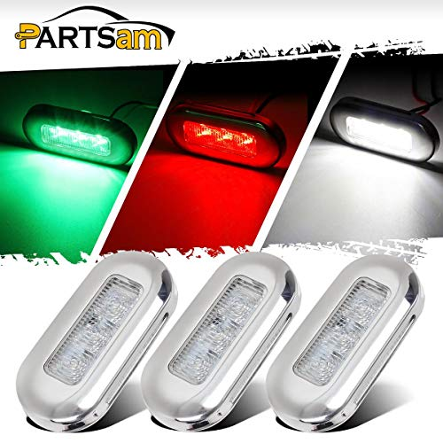 ne RV Boat LED Courtesy RED Green White Lights High Polished 3 LED, Sealed Submersible Led Interior Step Deck Floor Stairway Lights Accent Lighting, Reduce Yacht's Battery Usage ()