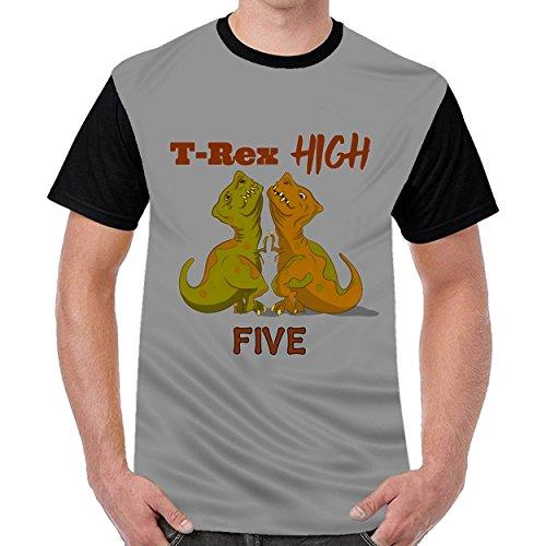 MordenCabin T Rex High Five Mens Printing Crew Neck t-Shirts Short Sleeve T-Shirt Dark Gray