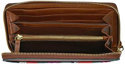 Fossil Caroline Rfid Zip Around Wallet Chevron Blue Wallet