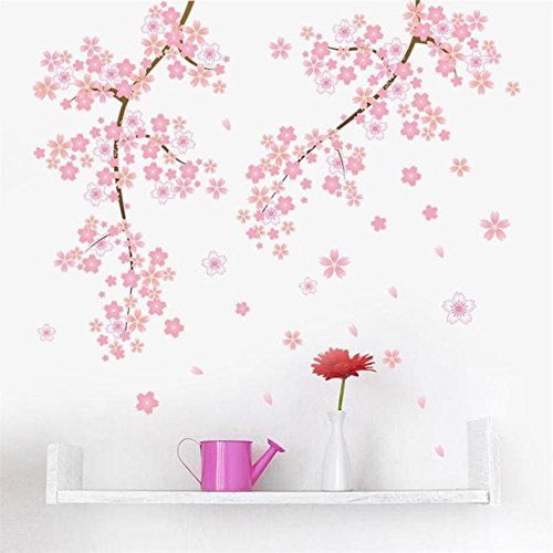 1 Pack Pink Flower Branch Tree Cherry Blossoms Wall Stickers Family Decal Living Room Bedroom Teen Nursery Excellent Popular Dream Butterfly World Moon Star Ocean Sun Vinyl Home Mural Art Decor