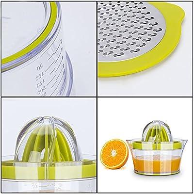Elindio 011402 Citrus 148X80MM Orange Manual Hand Squeezer Space Saving Kitchen Juicer with Garlic Grater Anti-Slip Non-Marking Silicone Green 2018 Upgrade 4 in 1