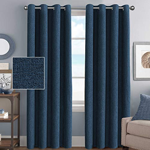 (H.VERSAILTEX Window Treatment Grommet Linen Blackout Curtains 96 Inches Long for Living Room Thermal Insulated Room Darkening Textured Linen Curtains for Bedroom 96 Inches, Dark Blue, 2 Panels)