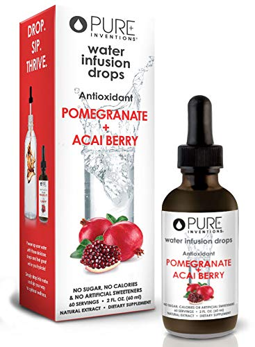 Pure Inventions, Antioxidant Fruit Extract Formulations Water Enhancers Infusion Drops (60 Servings) - 2 Oz (Pomegranate + Acai)