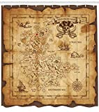 "Ambesonne Island Map Shower Curtain, Super Detailed Treasure Map Grungy Rustic Pirates Gold Secret Sea History Theme, Cloth Fabric Bathroom Decor Set with Hooks, 70"" Long, Beige Brown"