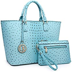 Women Fashion Satchel Tote Handbags Top Handle Purse Shoulder Bag with Wallet (01-T-6417-Turquoise)