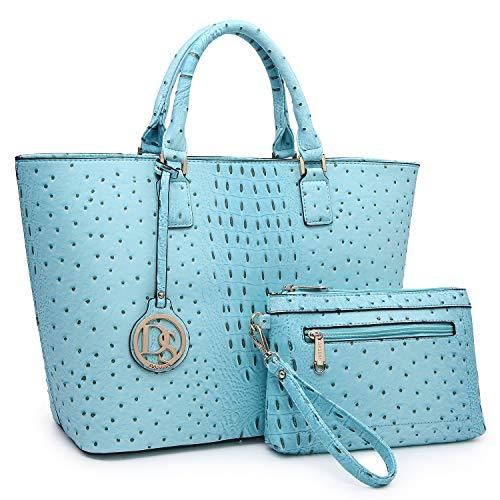 - Women Vegan Ostrich Leather Handbag Tote Bag Top Handle Purse Satchel Hobo Bag 2 Handbags Set For Women
