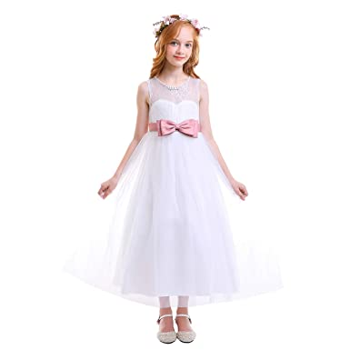 c68ba7561201 Big Girls Tulle Lace Bowknot Princess Dress Wedding Communion Evening  Birthday Party Maxi Gown White Pink