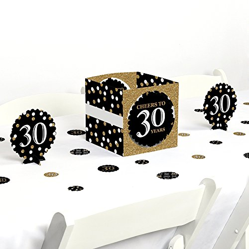 Big Dot of Happiness Adult 30th Birthday - Gold - Birthday Party Centerpiece & Table Decoration Kit by Big Dot of Happiness