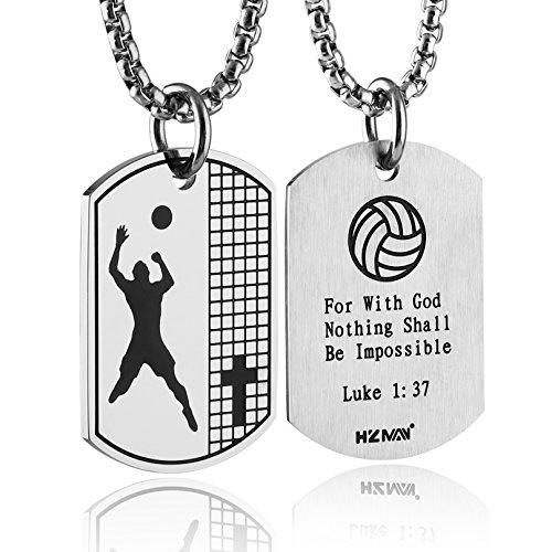 HZMAN Athletes Volleyball Cross Dog Tag Necklace Pendant Inspiring Luke 1:37 Bible Verse, 24