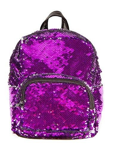 BG-709-76640 Festival Rave Summer Magic Reverse Sequin Mini Backpack - Purple (Tri Sport Bag Color)