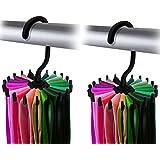 "IPOW 2 Pack 360 Degree Rotating Twirl Tie Rack Adjustable Tie Belt Scarf Hanger Holder Hook Ties Scarf for Closet Organizer Storage (4.4""black)"
