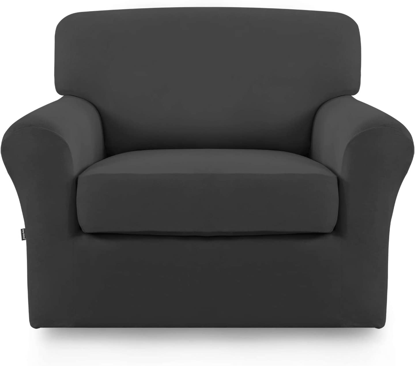 Stretch Sofa Slipcover,2-Piece Sofa Cover Furniture Protector Couch Micro Fiber Super Soft Sturdy with Elastic Bottom Pets,Kids,Children,Dog,Cat(Chair,Dark Gray)