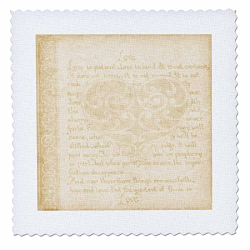 3dRose qs_123587_9 Subtle Bible Verse in Beige Love is Patient Quilt Square, 22 by 22-Inch