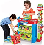O.B Toys&Gift Home Supermarket Luxury Grocery Store Playset w/ Working Scanner , Cash Register & Shopping Cart , Kids Pretend Play Grocery