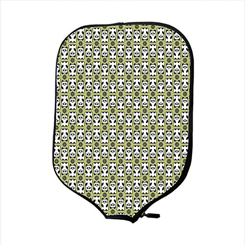 iPrint Neoprene Pickleball Paddle Racket Cover Case,Kids,Geometrical Up and Down Panda Pattern Daisy Flowers Cute Funny Bears,Pistachio Green Black White,Fit for Most Rackets - Protect Your Paddle