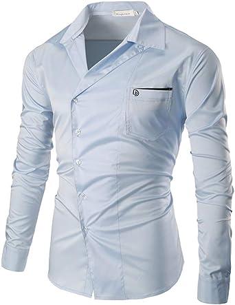 Business Style Top de Manga Larga para Hombre Casual Business Slim Fit Botones Camisa de Moda Camiseta Tops de Primavera y otoño: Amazon.es: Ropa y accesorios