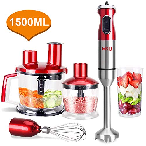 MRQ 6-in-1 800 Watt Heavy Duty Immersion Hand Blender Stick emulsion Mixer Set with Large Capacity 1500ml Food Processor Chopper, 600ml BPA Free Beaker, Detachable Egg Whisk, 600ml Cup (Red)