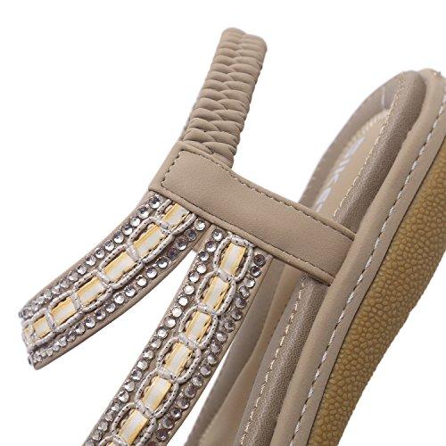 Chaussures Sandales Casual Mode Vêtements De Bébé Fille Grande Femmes Bohême Sandales Strass Taille Beige Été Plage Mme XIAOQI IxR0qIHw