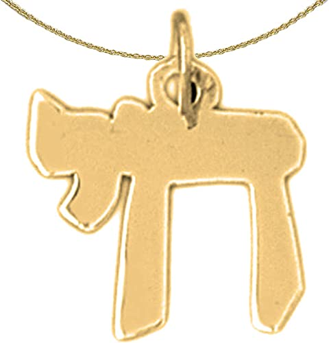 14K Yellow Gold-plated 925 Silver Jewish Chai Pendant with 16 Necklace Jewels Obsession Chais Necklace