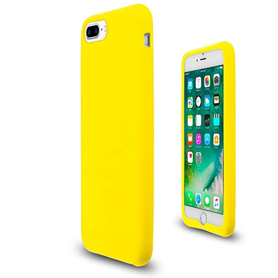 separation shoes 34b70 5afcd Yellow Soft Silicone Rubber Case Flexible Skin Jelly Cover for iPhone 7 + 8  Plus