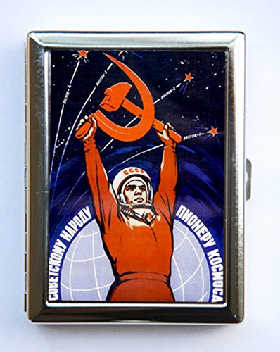 Soviet space propaganda Cigarette Case Wallet Business Card Holder russian russia outer space sci-fi