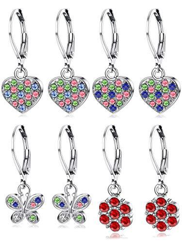 LOYALLOOK 4Pairs Leverback Earrings for Girls Stainless Steel Heart Butterfly Drop Dangle Earrings Flower Crystal Earrings - Earrings Lever Crystal Flower Back