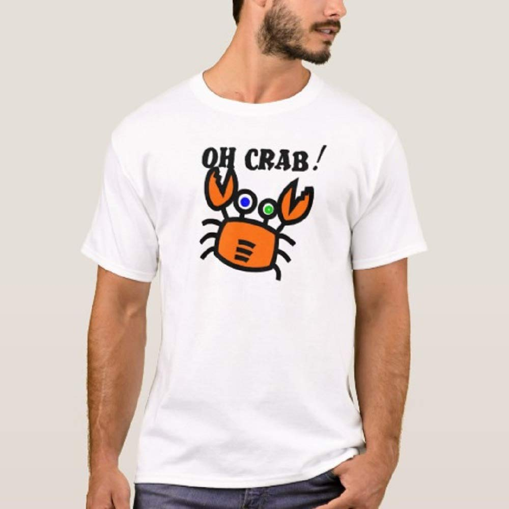 Oh Cartoon Crab T Shirt For Funny Letter Print Short Sleeve Tees Tops