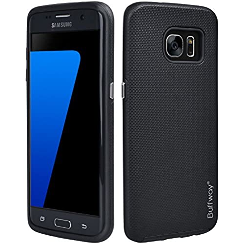 Galaxy S7 edge Case, Buffway Dual Layer With Drop Shock Proof TPU and Textured Pattern Grip Hard Cover Heavy Duty Rubber Hybrid protective Case for Sales