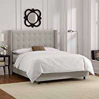 Skyline Furniture Nail Button Tufted Wingback Queen Bed in Velvet Light Grey