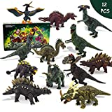 Nviotoys Dinosaur Toys Figure 12pcs Realistic Movable Dinosaurs Playset Including T-Rex, Triceratops, Velociraptor Toy,Learn with Educational Dino Guidebook Set for Kids